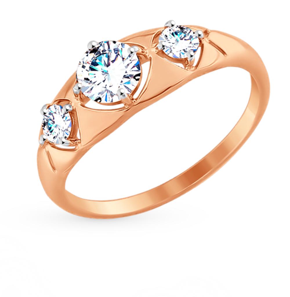 золотое кольцо с фианитами SOKOLOV 017500*