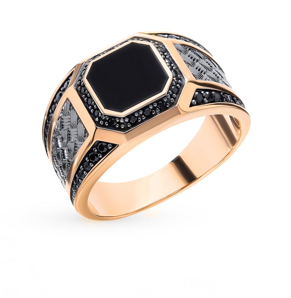 Фото «Мужское золотое кольцо с вставкой из оникса и фианитов»