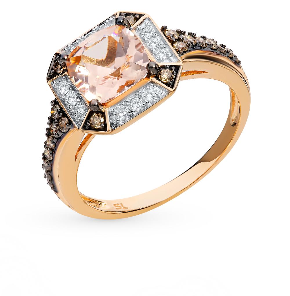 Фото «Золотое кольцо с коньячными бриллиантами и морганитами»