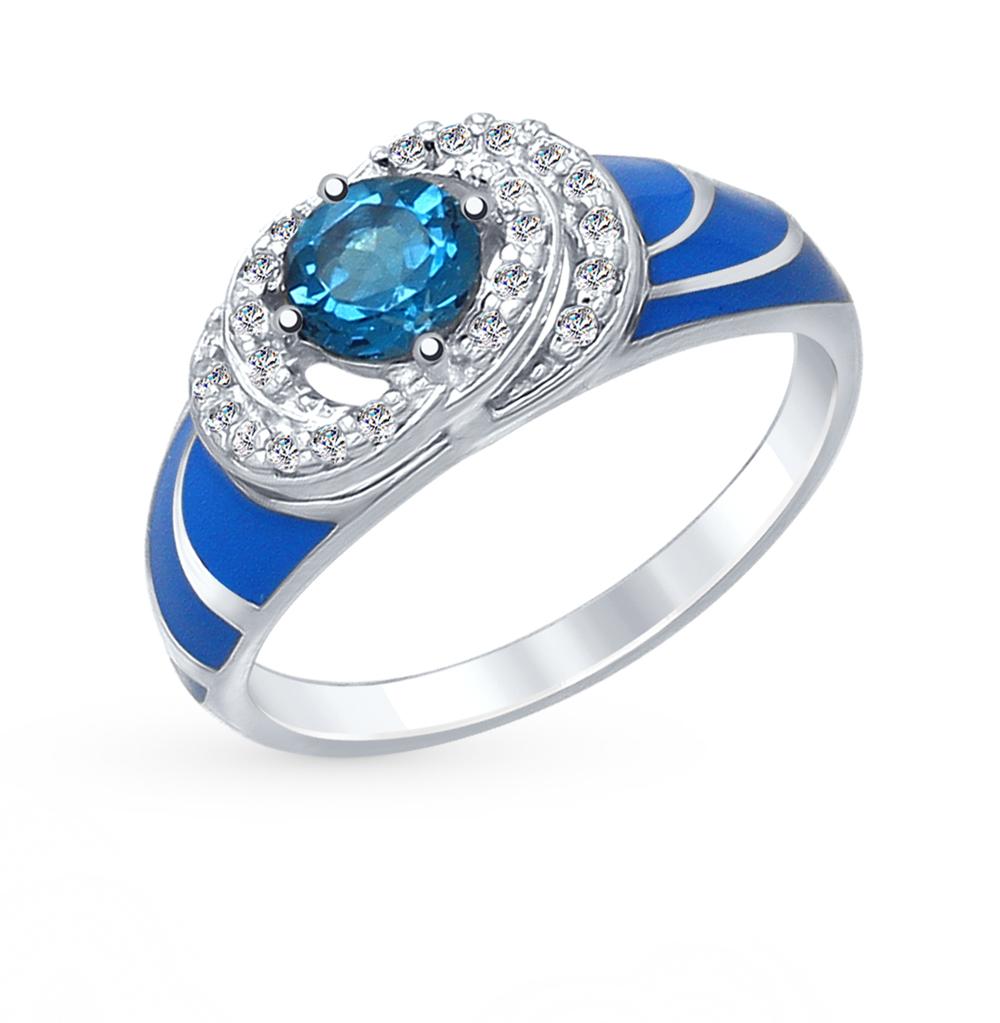 Фото «Серебряное кольцо с топазами и эмалью SOKOLOV 92011412»