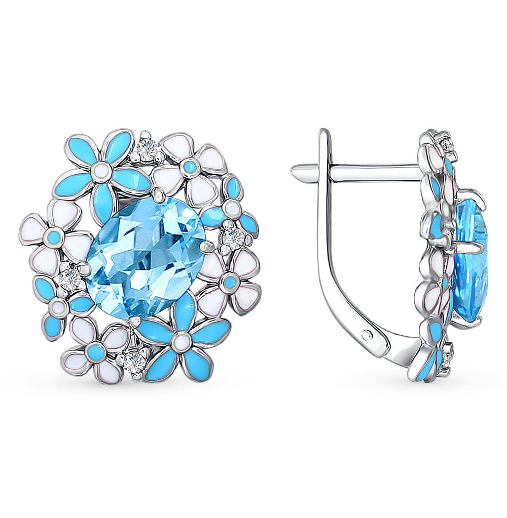 Фото «серебряные серьги с топазами, фианитами и эмалью»