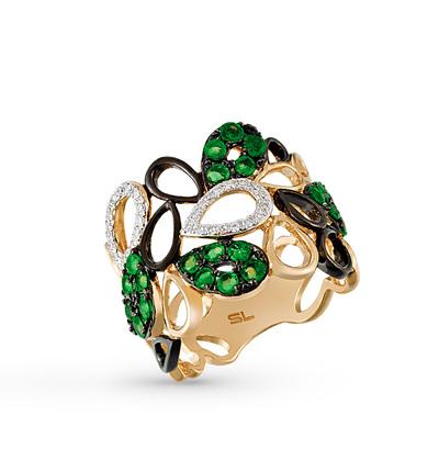золотое кольцо с изумрудами, эмалью и бриллиантами
