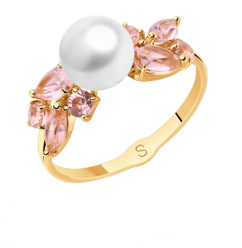 Фото «Золотое кольцо с жемчугом и ситаллами SOKOLOV 791110»