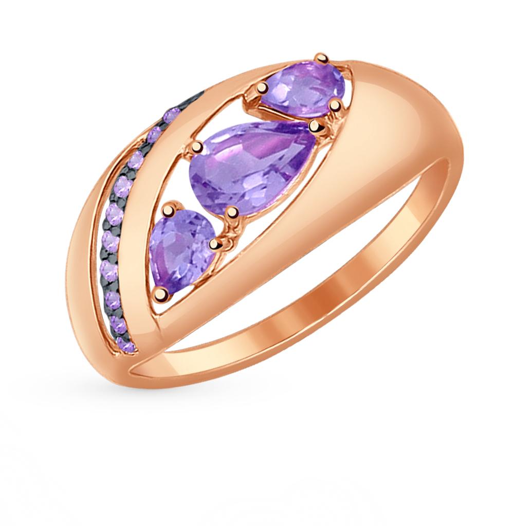 золотое кольцо с аметистом и фианитами SOKOLOV 714540*