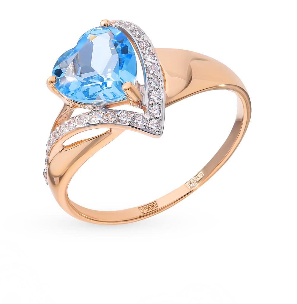 золотое кольцо с топазами и фианитами SOKOLOV 715039*