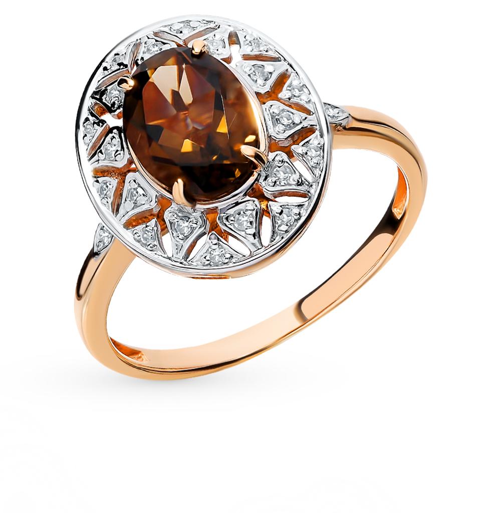 золотое кольцо с раухтопазами (кварцами дымчатый) и бриллиантами