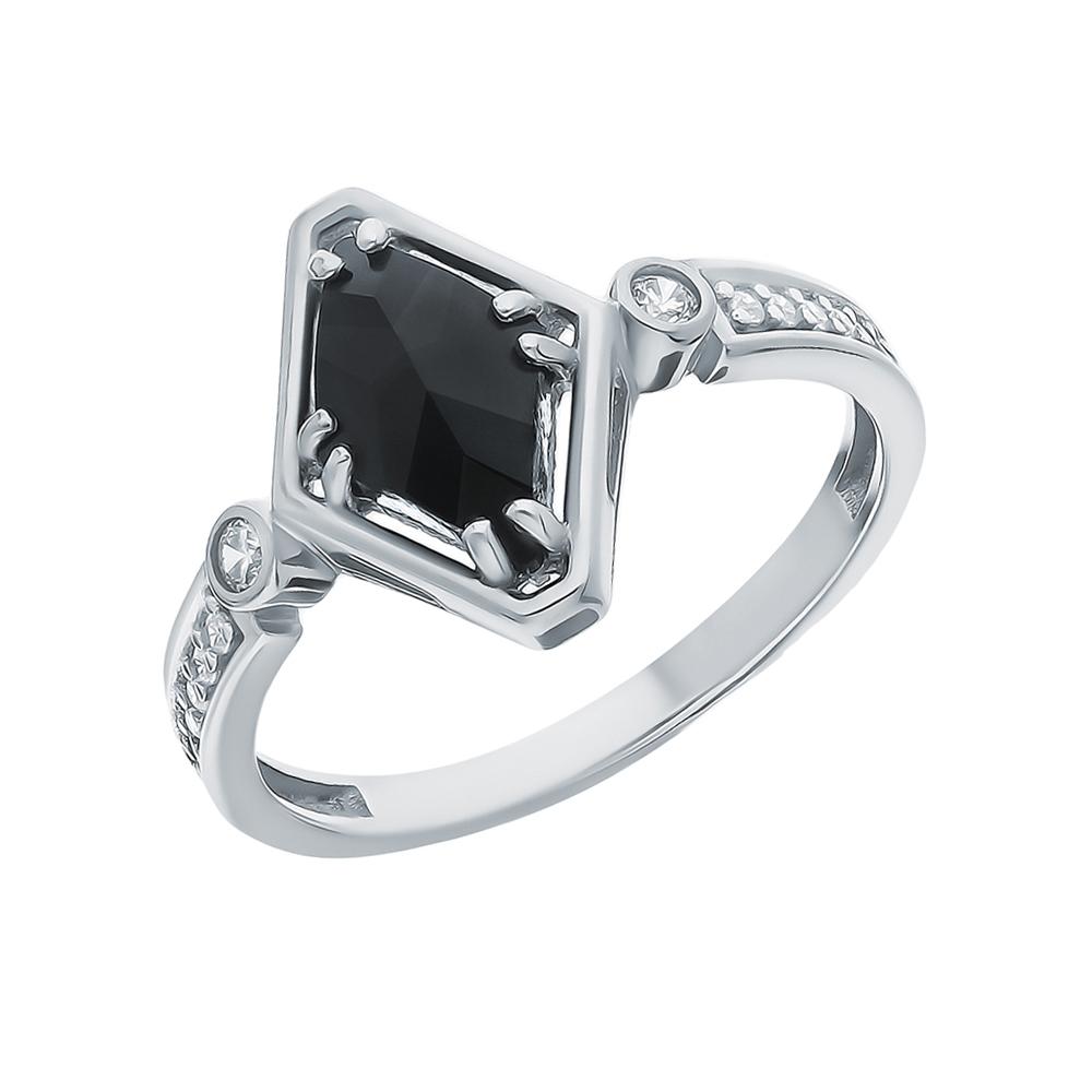 Серебряное кольцо с фианитами и ювелирными стёклами в Екатеринбурге