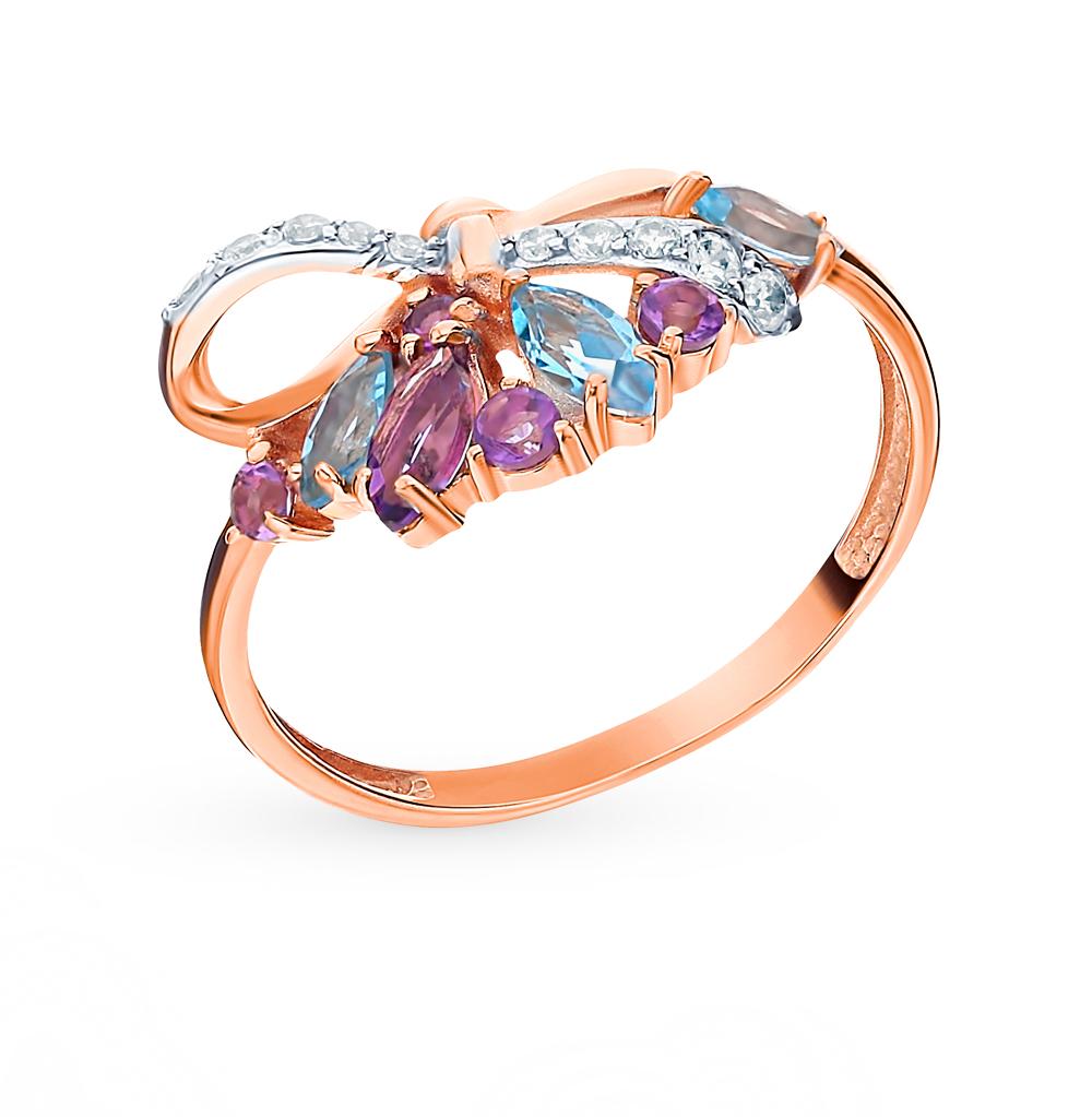 золотое кольцо с аметистом, топазами и фианитами