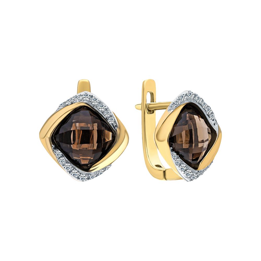 Золотые серьги с кварцами дымчатыми и бриллиантами в Екатеринбурге