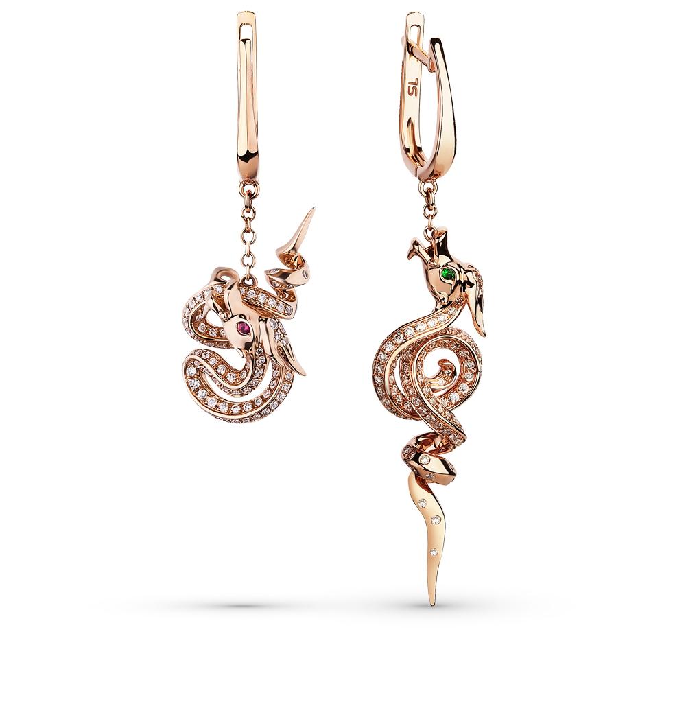 Фото «золотые серьги с цаворитами, рубинами и бриллиантами»