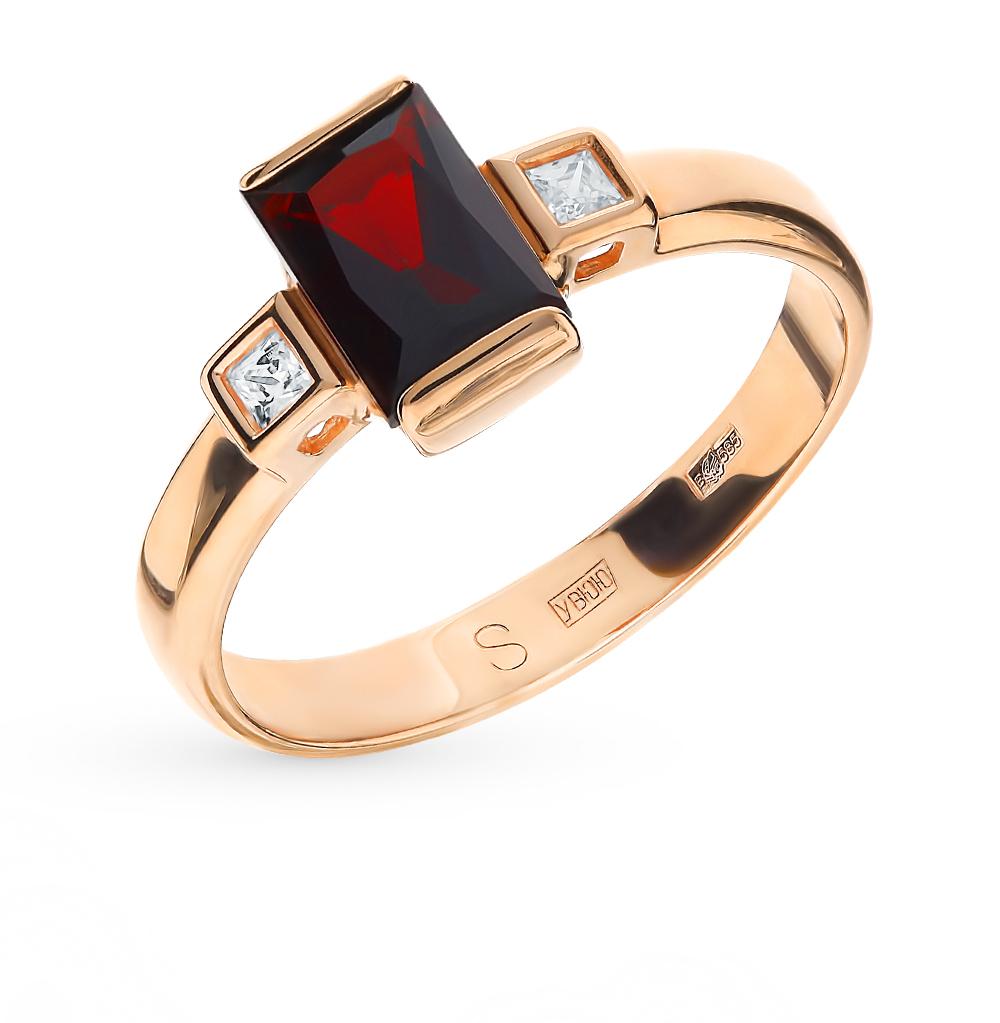 золотое кольцо с фианитами и гранатом SOKOLOV 715051*