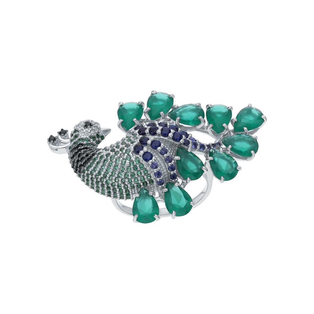 Фото «Серебряное кольцо с фианитами и хризолитами синтетическими»