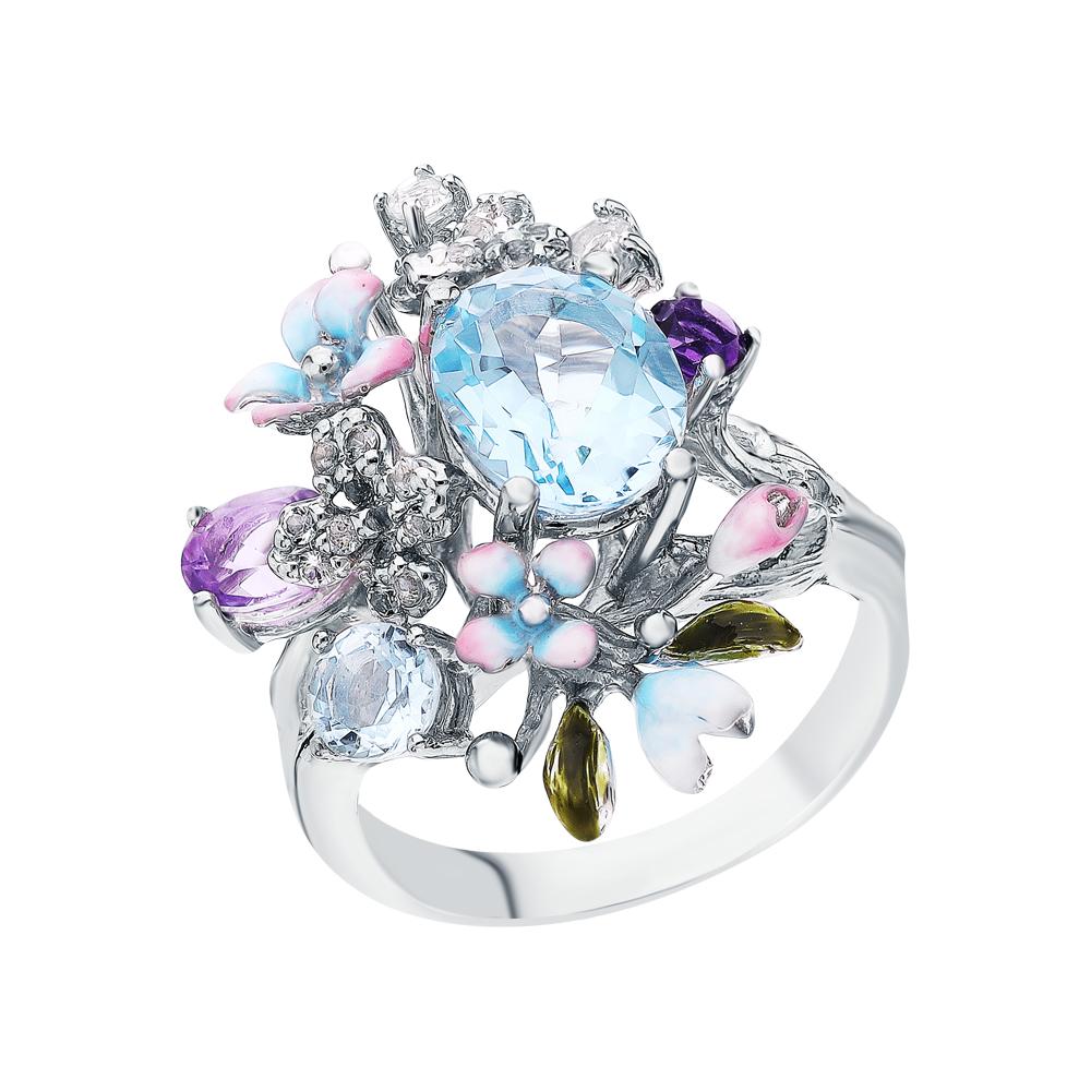 Серебряное кольцо с аметистом и топазами в Екатеринбурге