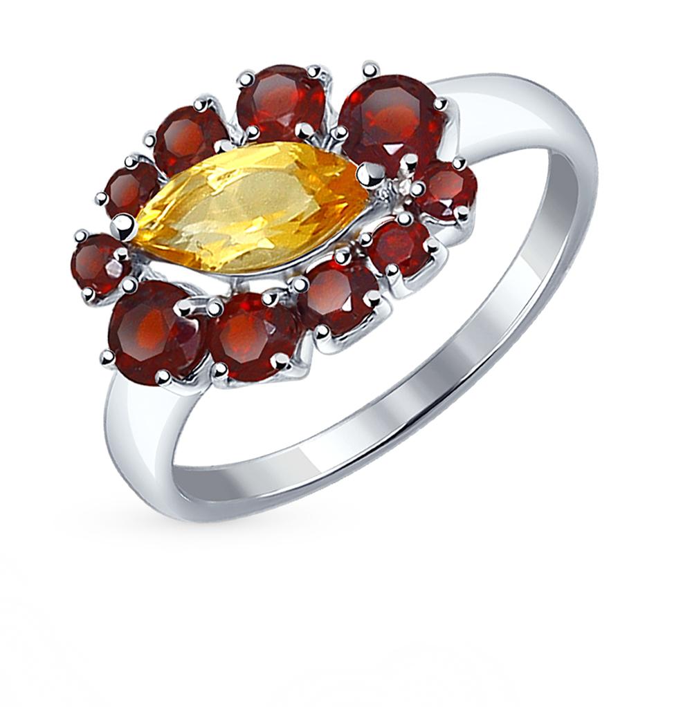 Фото «серебряное кольцо с гранатом и цитринами»