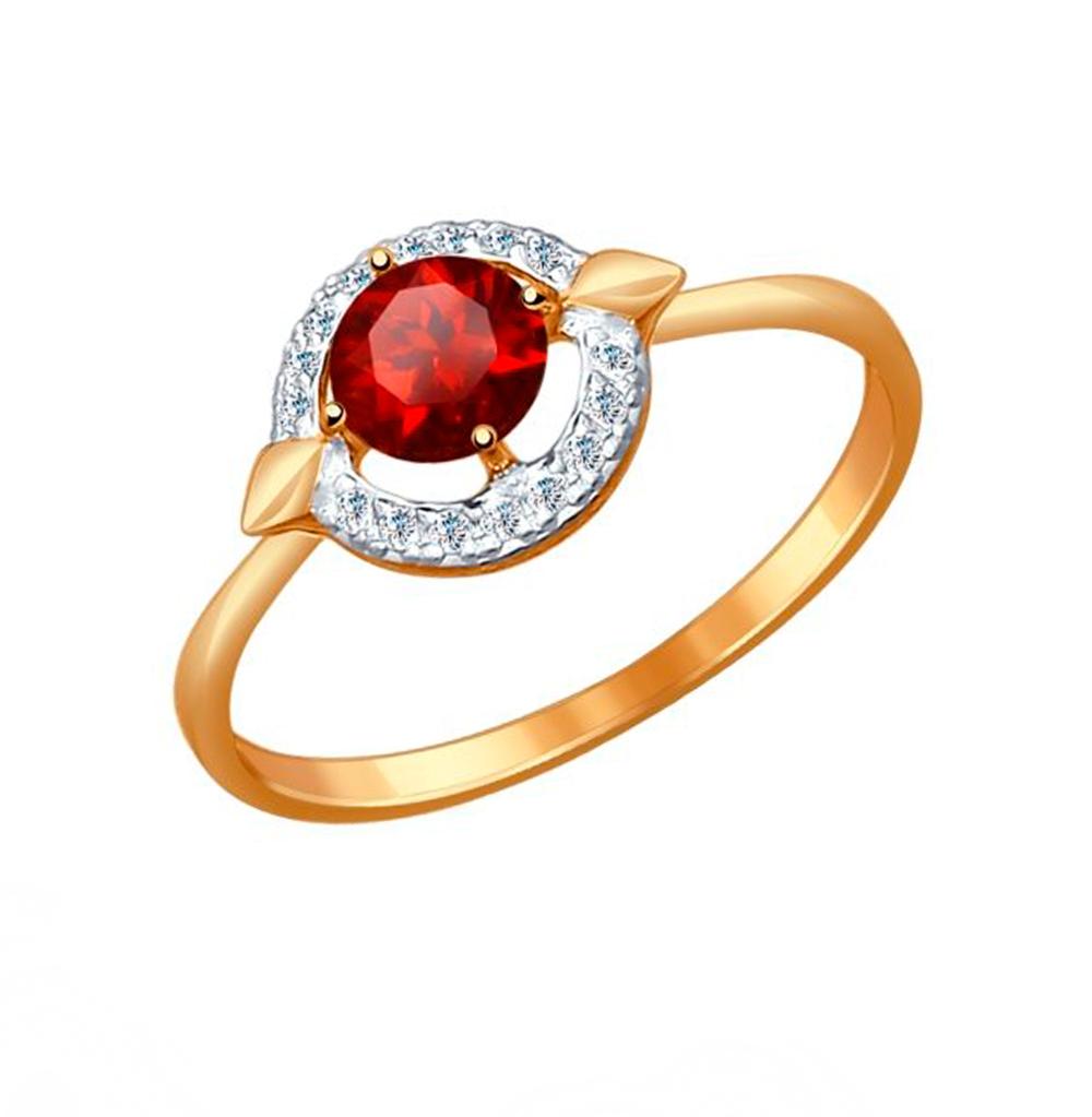 Золотое кольцо с фианитами и гранатом SOKOLOV 714455* в Санкт-Петербурге