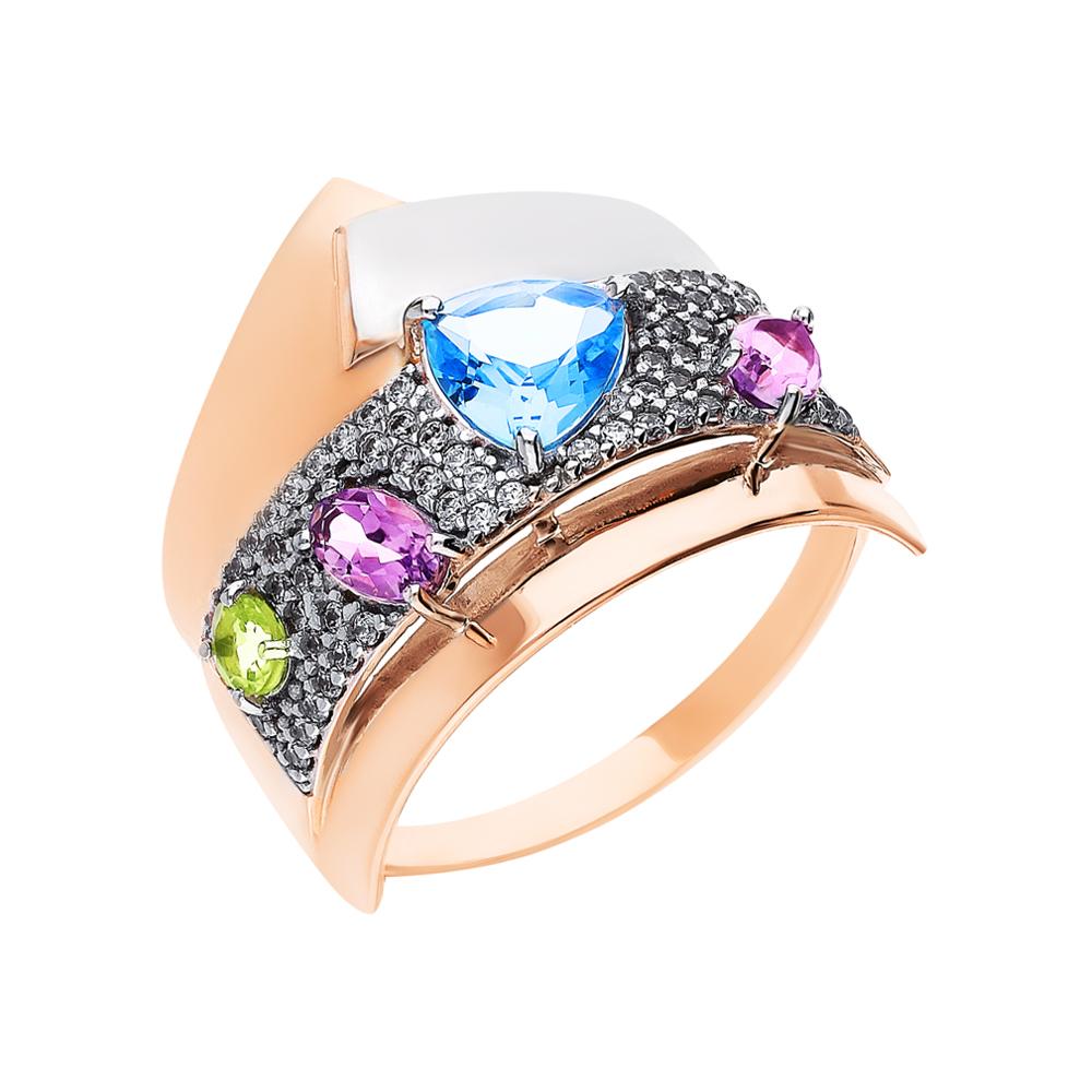 Фото «Золотое кольцо с хризолитом, аметистом, топазами и фианитами»