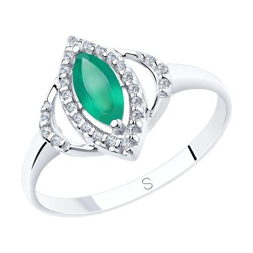 Фото «Серебряное кольцо с фианитами и агатом SOKOLOV 92011842»