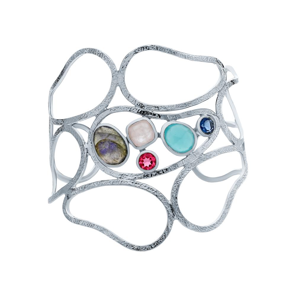 Фото «Серебряный браслет с кварцем, алпанитом и фианитами»