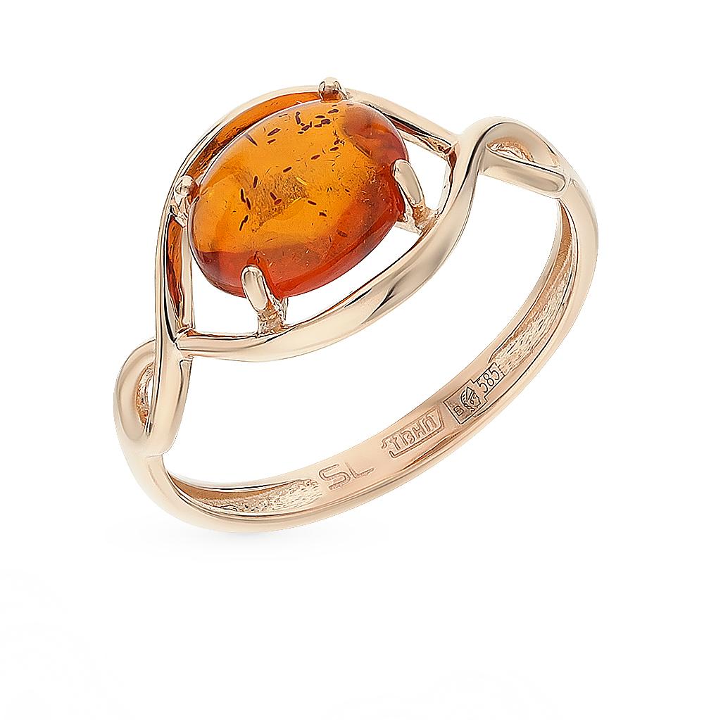 Золотое кольцо с янтарем в Екатеринбурге