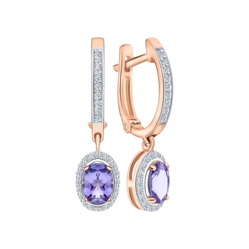 Золотые серьги с танзанитом и бриллиантами в Екатеринбурге