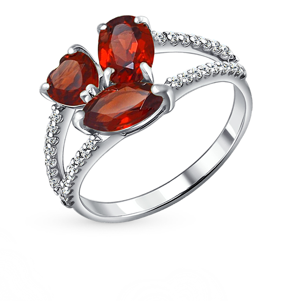 Серебряное кольцо с фианитами и гранатом SOKOLOV 92010923 в Екатеринбурге