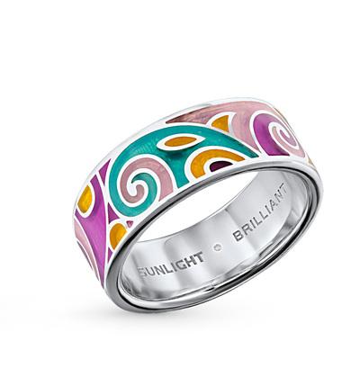 серебряное кольцо с витражными эмалями и бриллиантами