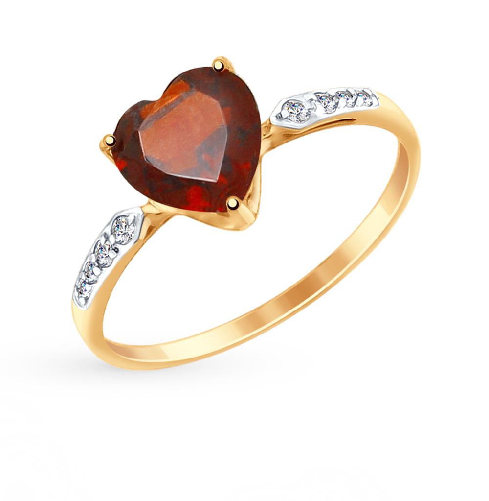 золотое кольцо с фианитами и гранатом SOKOLOV 714994*