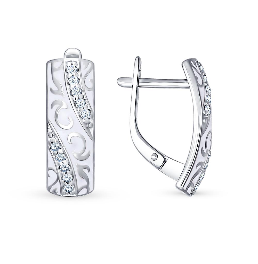 серебряные серьги с фианитами и эмалью SOKOLOV 94021530