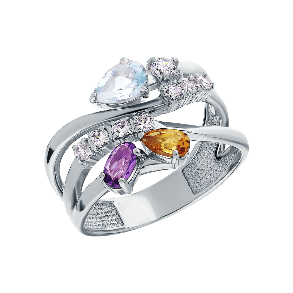 Фото «Серебряное кольцо с аметистом, топазами, фианитами и цитринами»