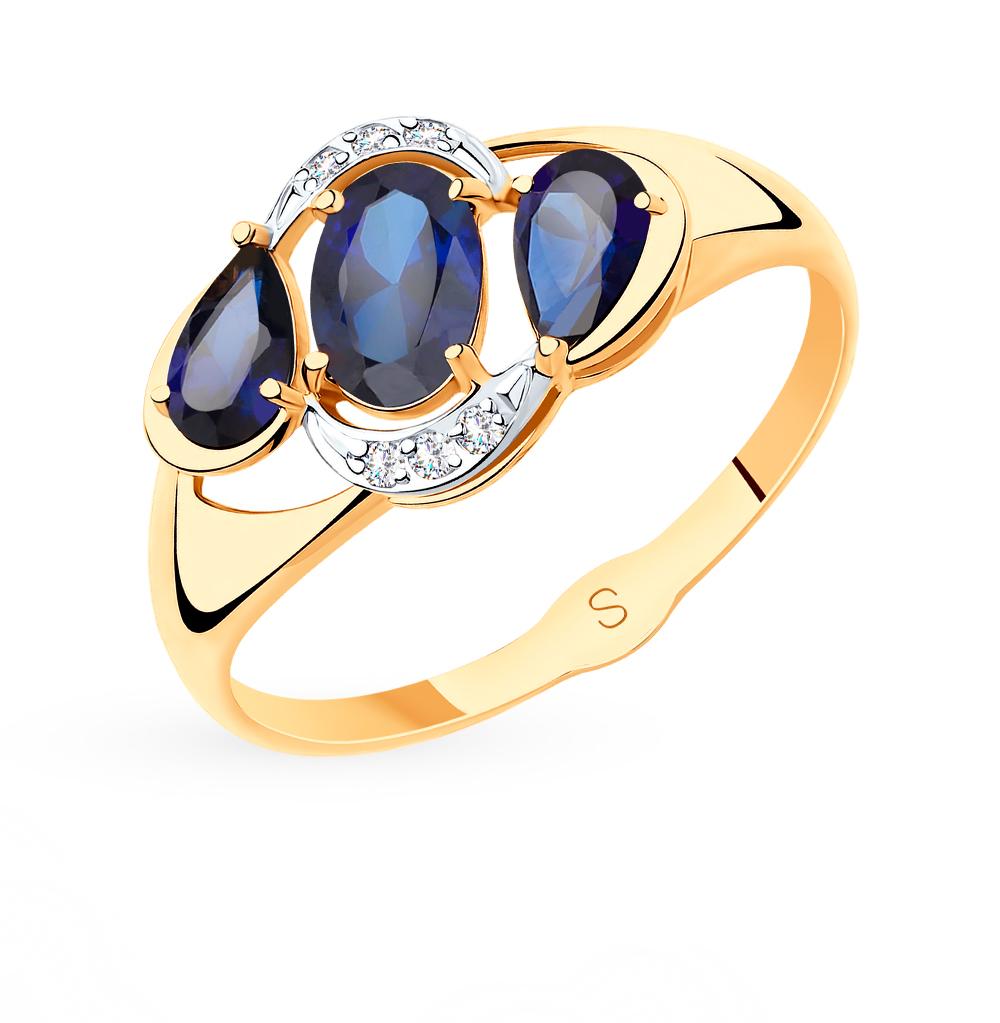 Фото «Золотое кольцо с корундом SOKOLOV 715512»