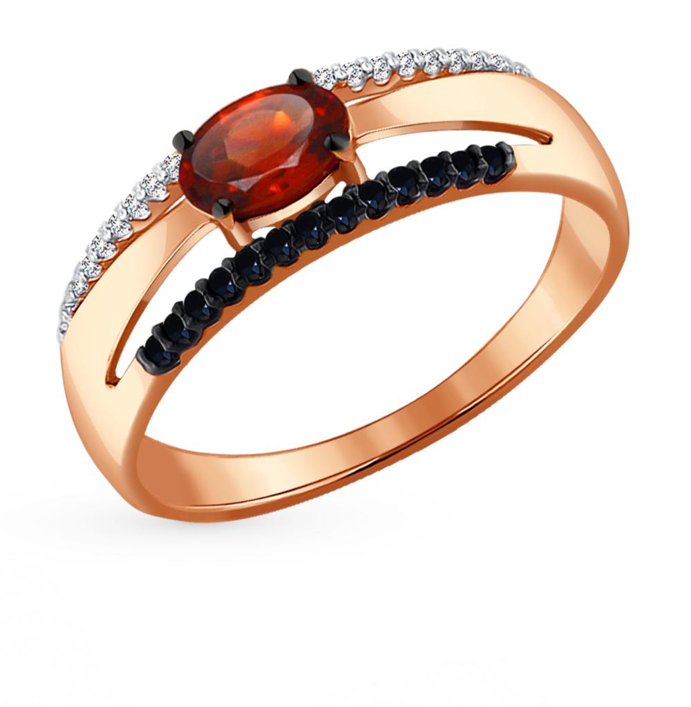 Фото «Золотое кольцо с фианитами и гранатом SOKOLOV 714050*»