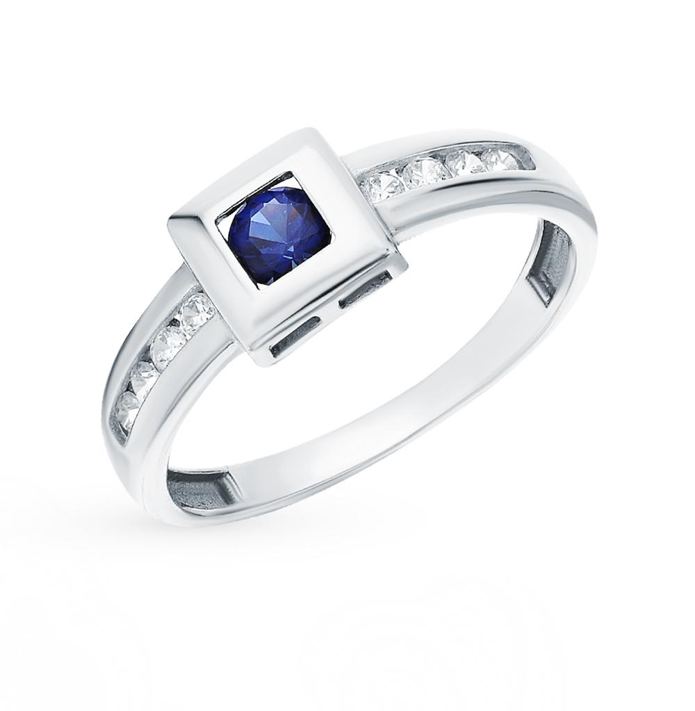Фото «Серебряное кольцо с фианитами и наносапфирами»