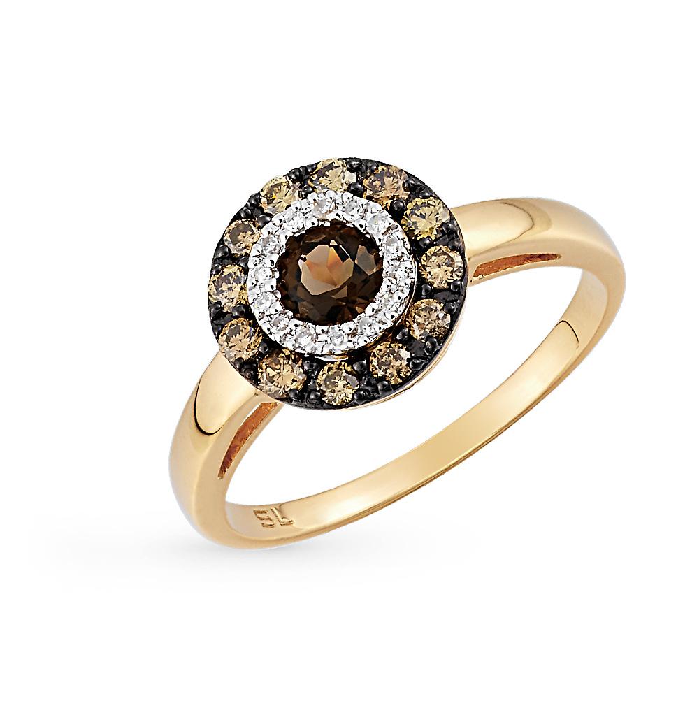 Золотое кольцо с коньячными бриллиантами, раухтопазами (кварцами дымчатый)