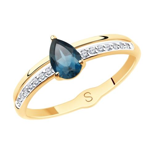 Фото «Золотое кольцо с топазами и фианитами SOKOLOV 715584*»