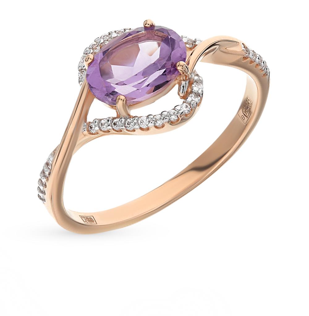 Фото «Золотое кольцо с аметистом и фианитами SOKOLOV 713840*»