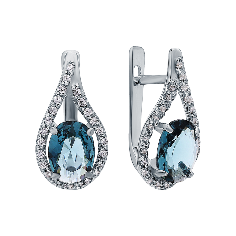 Фото «Серебряные серьги с фианитами и ювелирными кристаллами»