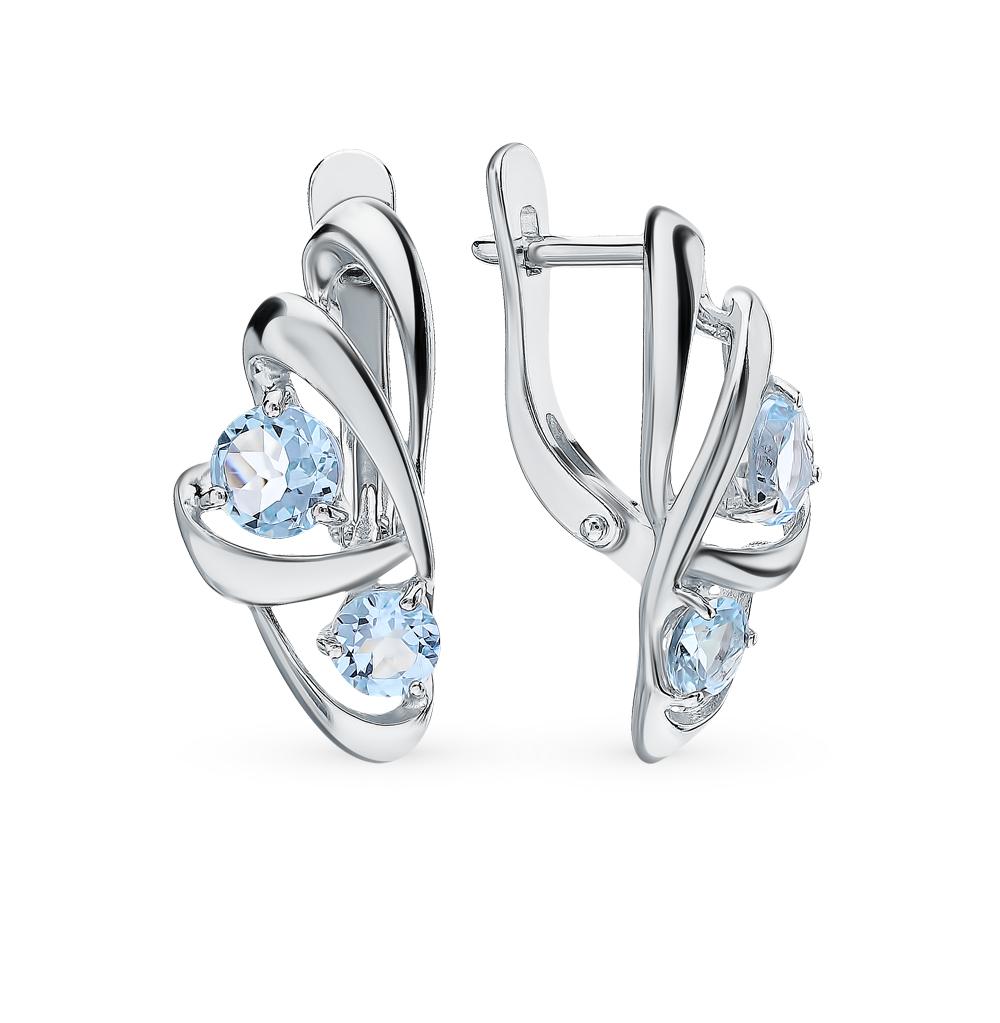 серебряные серьги с топазами SOKOLOV 92021817