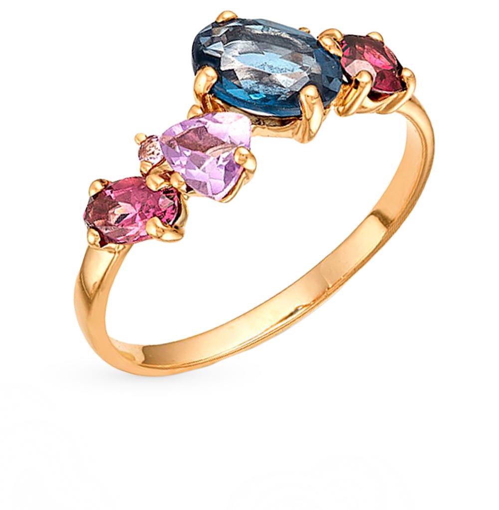 Фото «золотое кольцо с аметистом, топазами и родолитами»