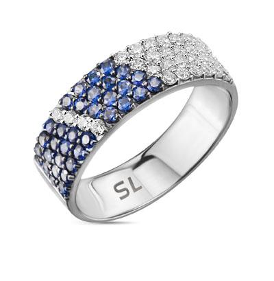 Фото «серебряное кольцо с фианитами и сапфирами синтетическими»
