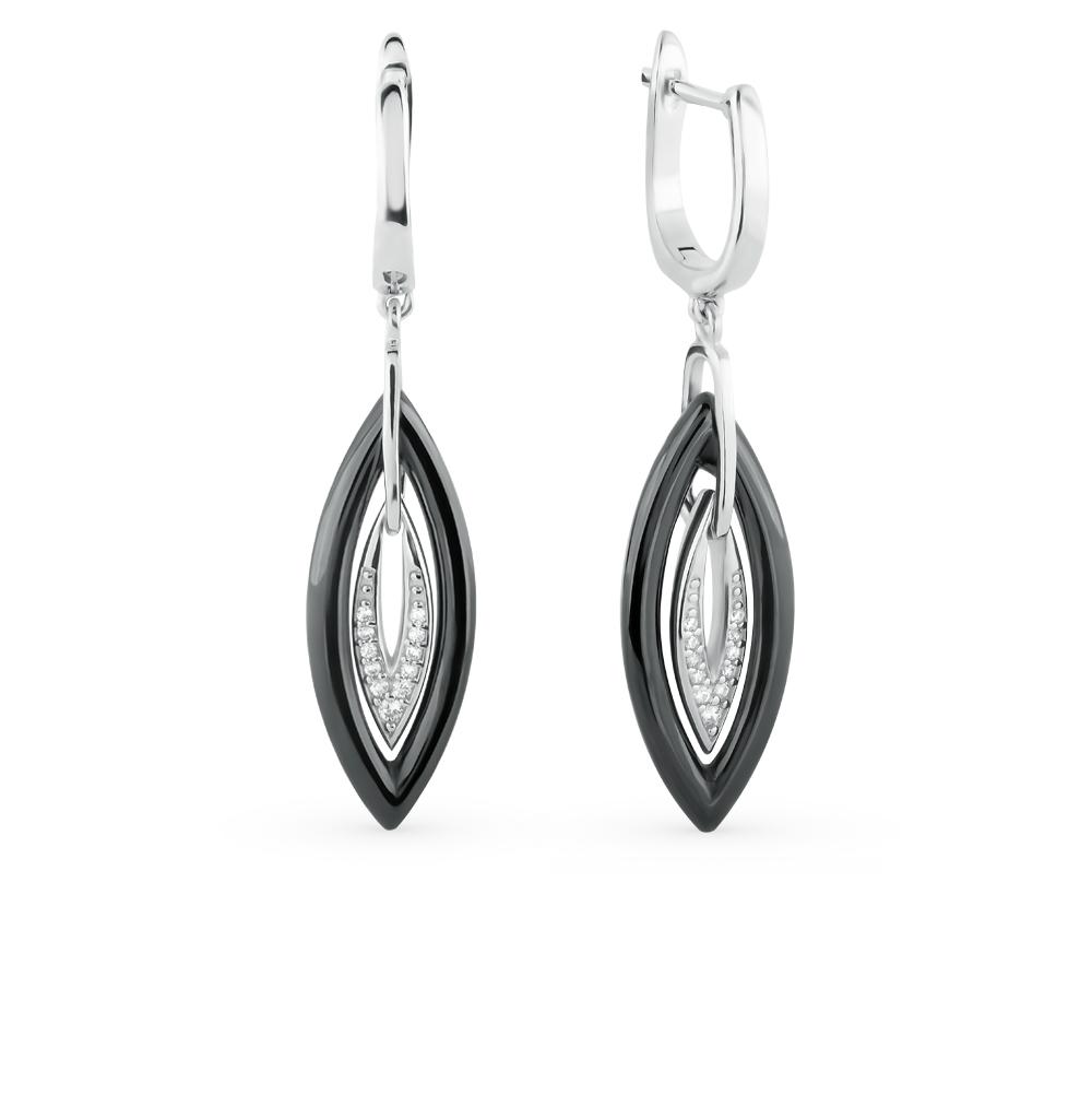 Фото «серебряные серьги с фианитами и керамикой»