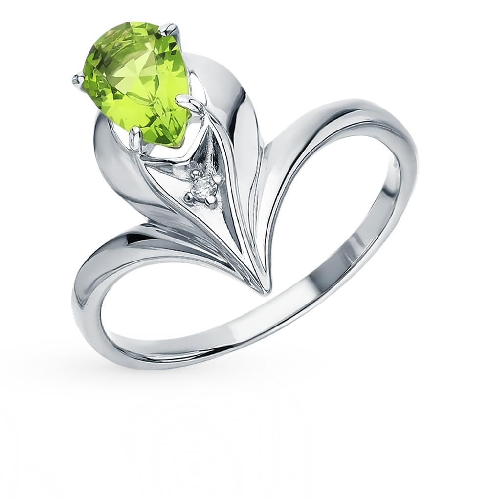 серебряное кольцо с хризолитом и фианитами