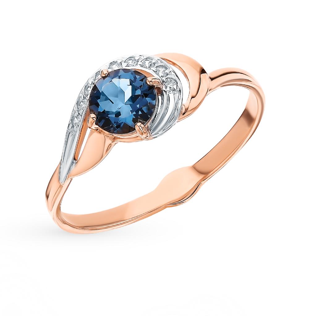 Фото «Золотое кольцо с топазами и фианитами SOKOLOV 715562»