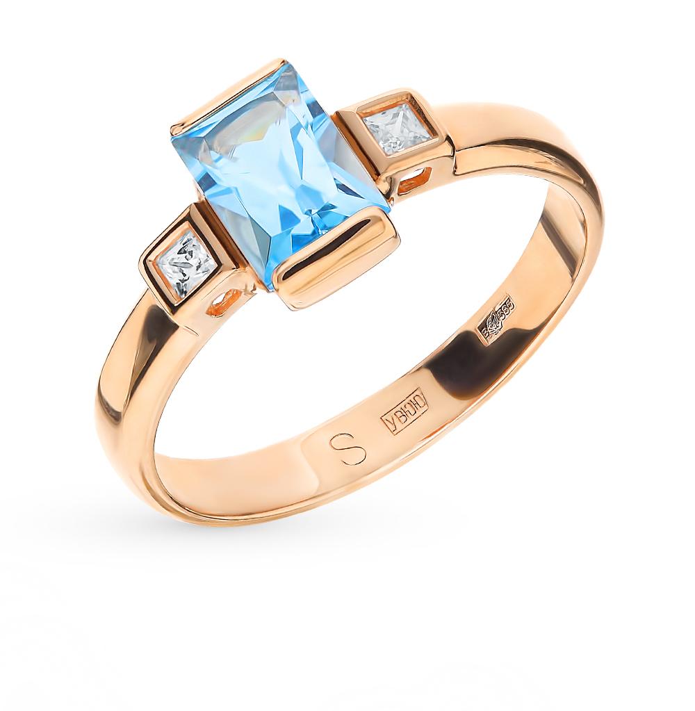 золотое кольцо с топазами и фианитами SOKOLOV 715210*