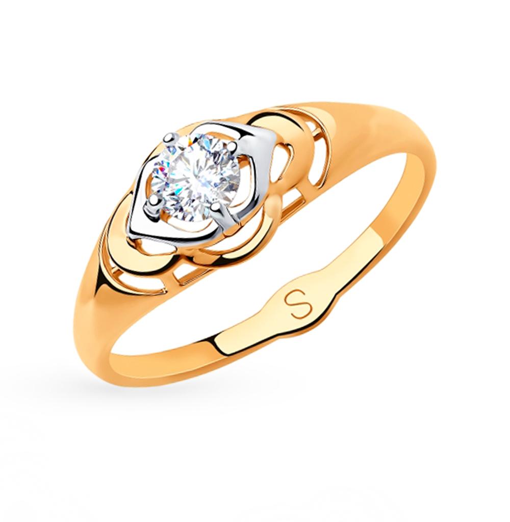 Фото «Золотое кольцо с фианитами SOKOLOV 018203»