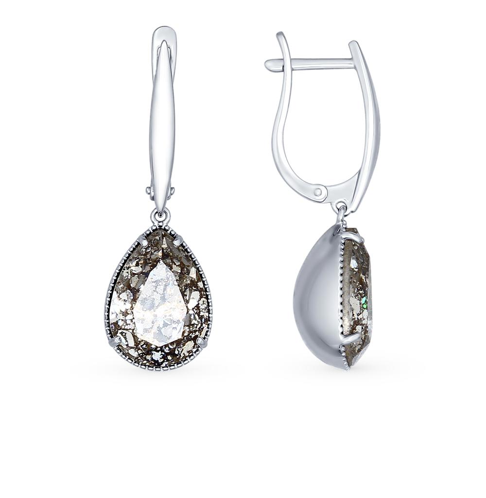 серебряные серьги с кристаллами swarovski SOKOLOV 94022222
