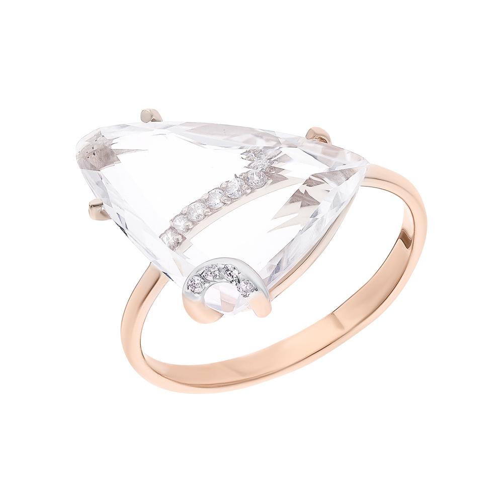 Фото «Золотое кольцо с горным хрусталем и фианитами»