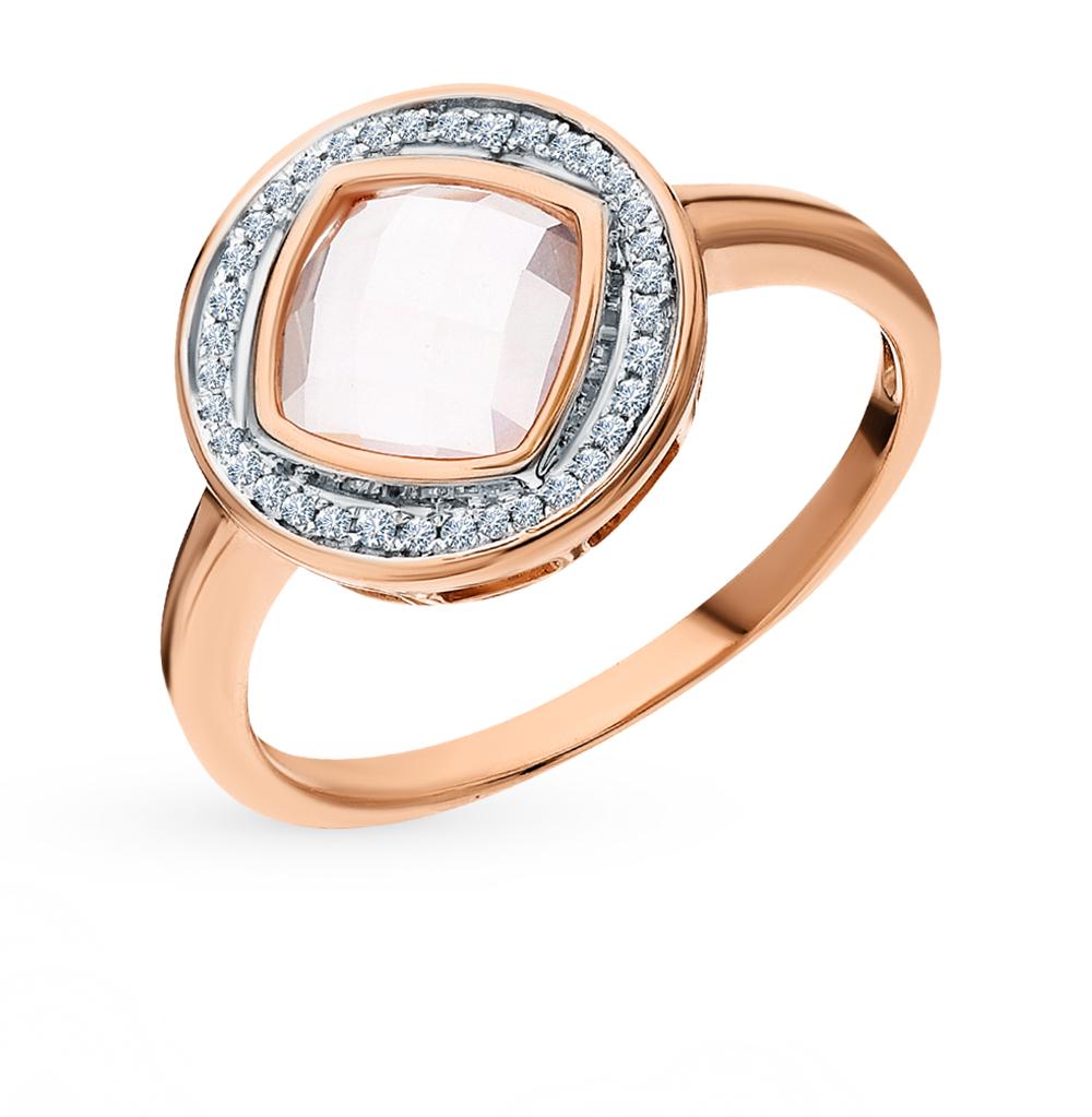Золотое кольцо с кварцем и бриллиантами в Екатеринбурге