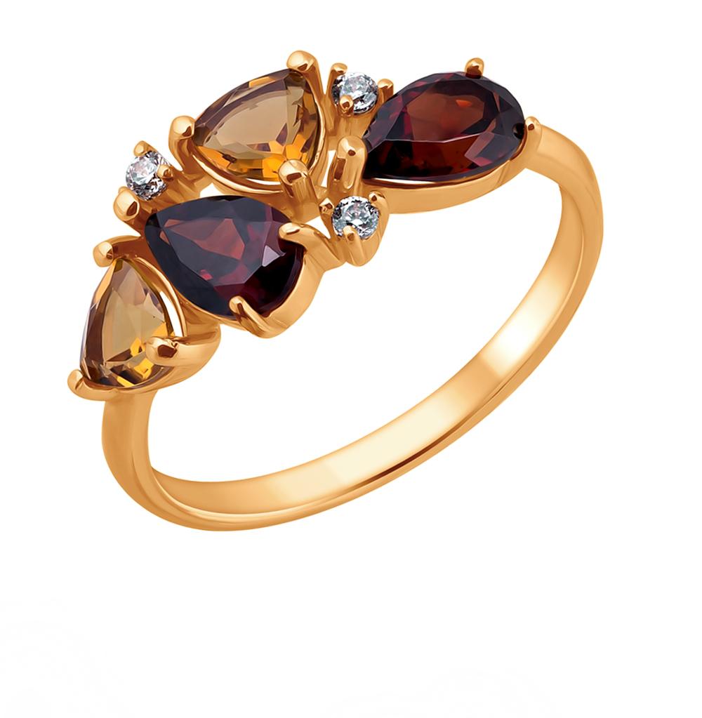 Фото «Золотое кольцо с фианитами, гранатом и цитринами»