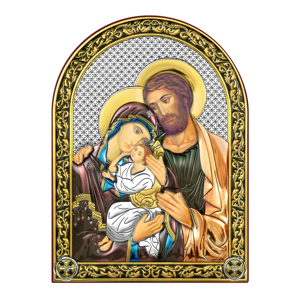 Икона Святое  Семейство, с позолотой и цветной эмалью, на дереве