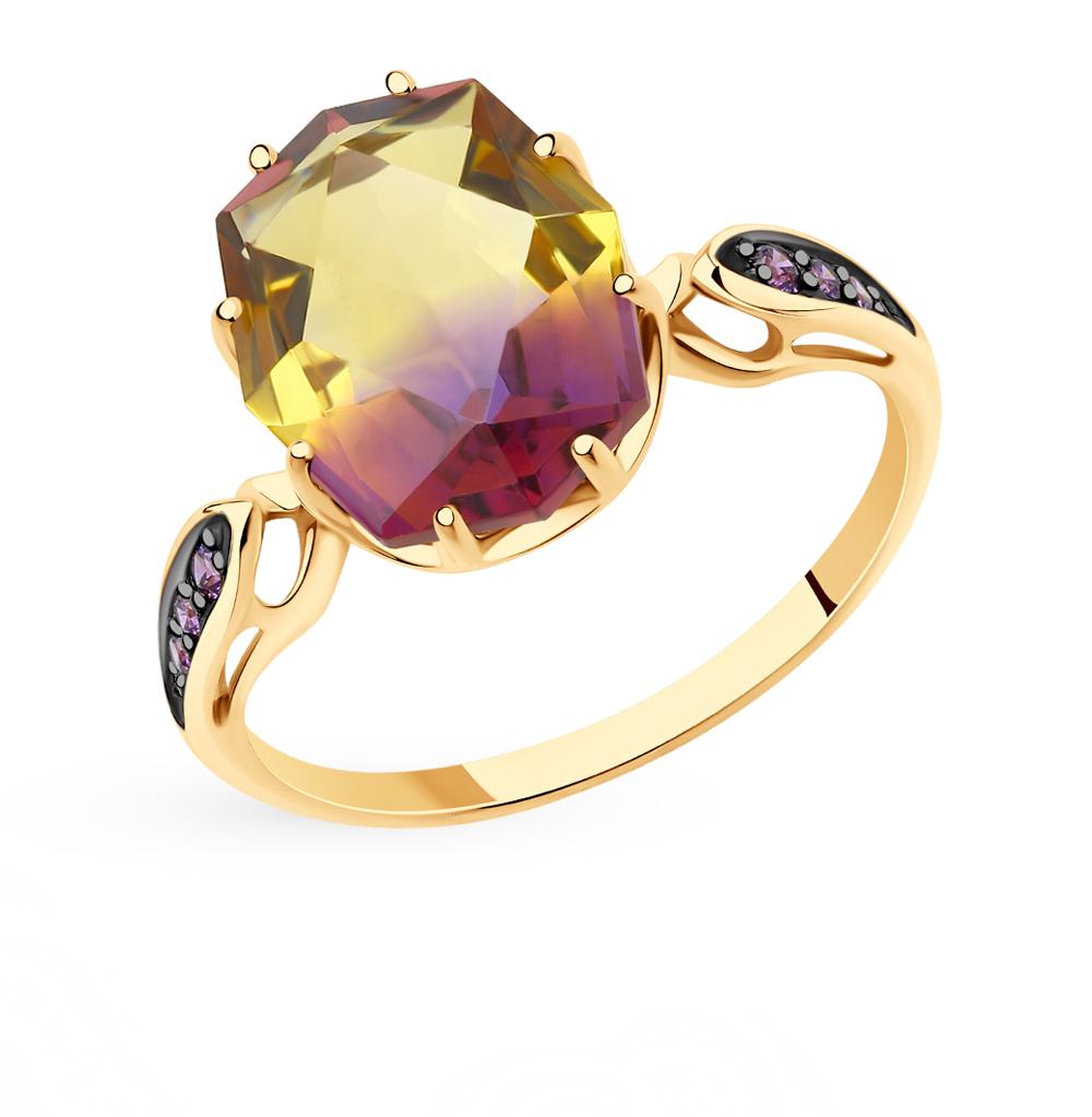 золотое кольцо с фианитами и ситаллами SOKOLOV 715718